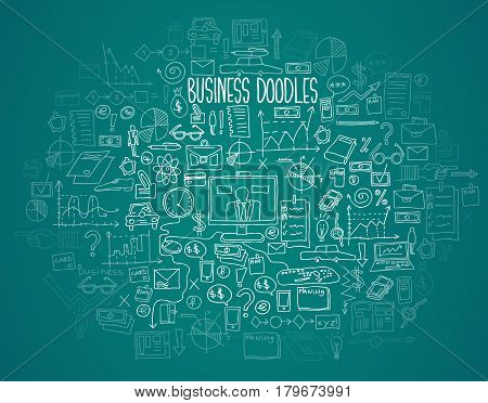 Hand draw doodle elements bank business finance analytics earnings.
