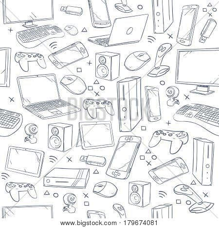 Computer game, device, social gaming vector sketch doodles seamless pattern. Doodle sketch joystick and gaming console, illustration of sketch background with smart device poster