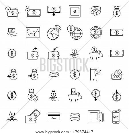 Simple icon set related to Money. Different money icons