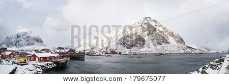 Norway red  tradition  houses and mountain in horison