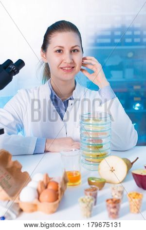 Women work in food quality inspection  laboratory