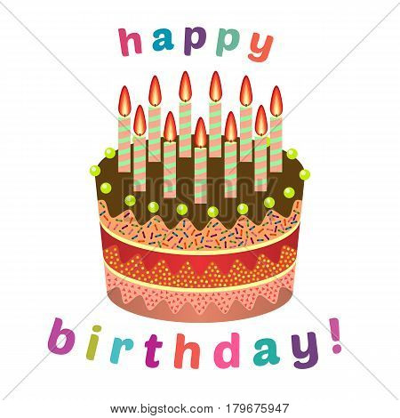 Sweet birthday cake with eleven burning candles. Colorful holiday dessert. Vector celebration background.