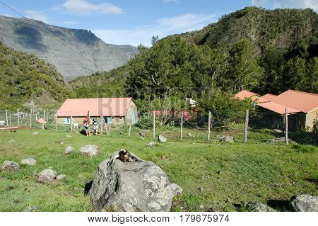 The Mountain Village Of La Nouvelle On La Reunion Island