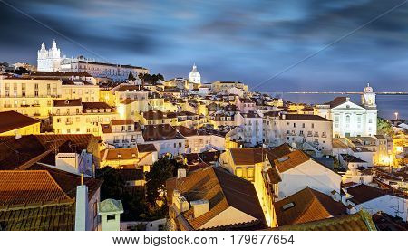 Panoramic view of Lisbon Portugal at a night