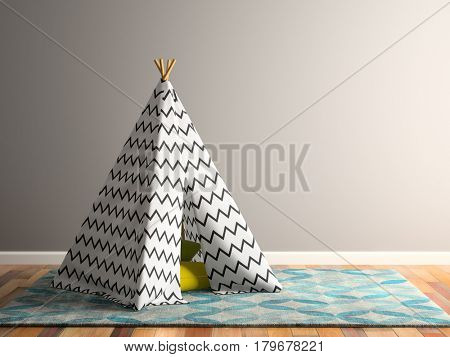 part Interior with wigwam 3D illustration