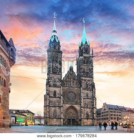 Nuremberg - St. Lawrence church at sunset in Germany
