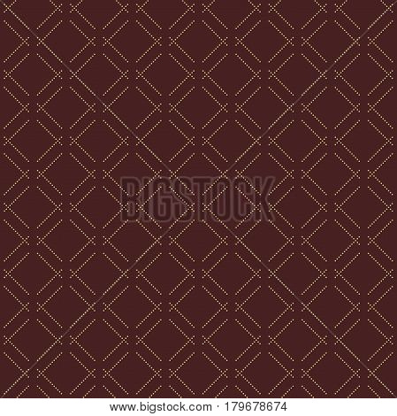 Geometric brown and golden dotted pattern. Seamless abstract modern texture for wallpapers and backgrounds