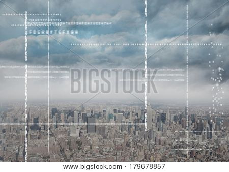 Digital composite of White code against skyline and clouds
