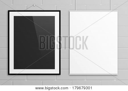 Two posters 3D illustration mock up with frame hanging on bricks wall. US letter paper size.