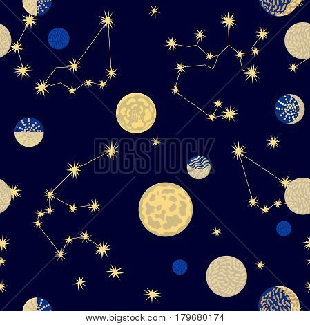 Seamless vector pattern with different celestial bodies.