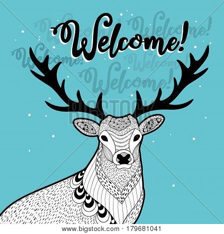 Winter print with funny deer. Vector illustration of doodle animal.