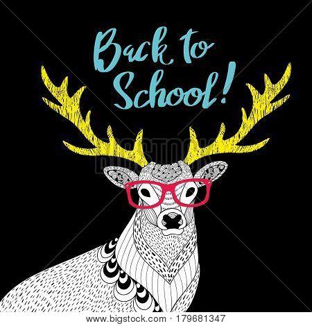 Teacher deer print. Creative vector illustration of wild animal in glasses.