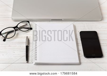 Office desk table of business workplace and business objects.Modern office workplace.Picture with copy space and for add text.Stylish minimalistic workspace. Clean book for text