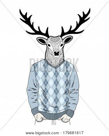 Creative portrait of dressed deer. Vector illustration of isolated wild animal.