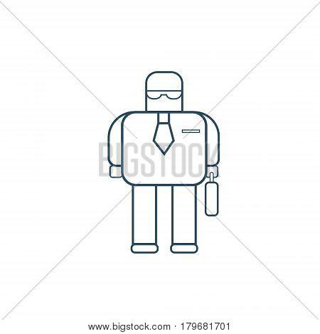 Modern Robot Business Man Futuristic Mechanism Thin Line Vector Illustration