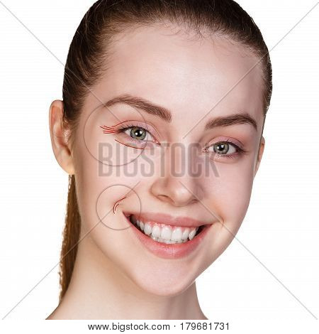 Woman face shows age-related mimic wrincles over white background. poster
