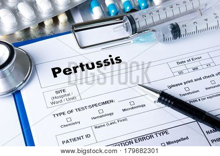 Pertussis  Doctor Hand Working Professional Medical Concept