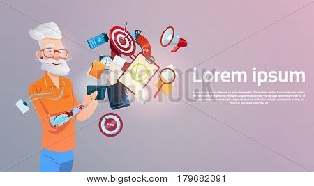 Senior Man Hipster Using Cell Smart Phone Chatting Online Flat Vector Illustration
