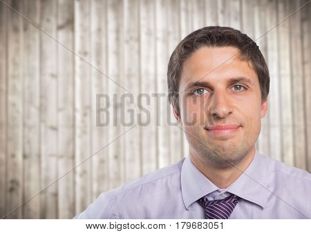Digital composite of Close up of man in lavendar shirt against blurry wood panel