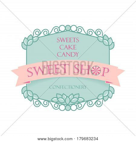 Shop sweets. Brandname sticker logo signboard design element.
