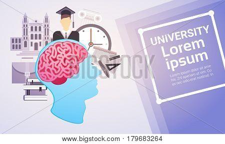 University Education Online Learning Web Banner Flat Vector Illustration