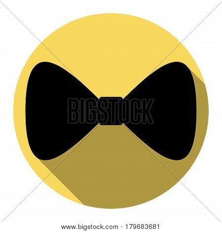Bow Tie icon. Vector. Flat black icon with flat shadow on royal yellow circle with white background. Isolated.