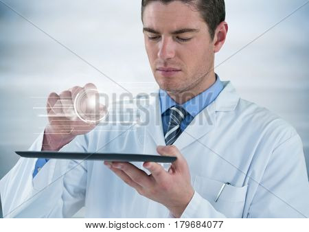 Digital composite of Man in lab coat with tablet and white interface with flare against grey background
