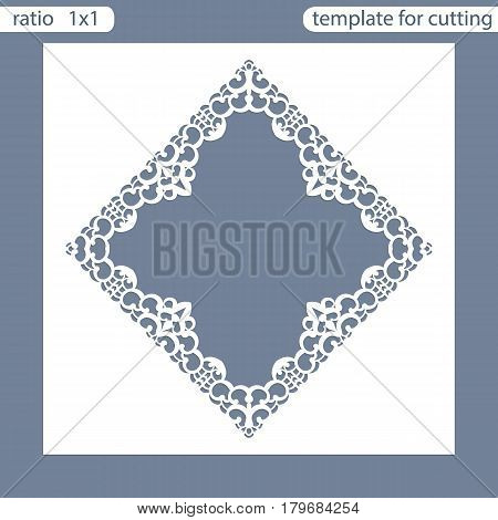 Laser cut wedding invitation card template. Cut out the paper card with lace pattern. Greeting card template for cutting plotter. Photo frame are laser cut from a plate. Vector.