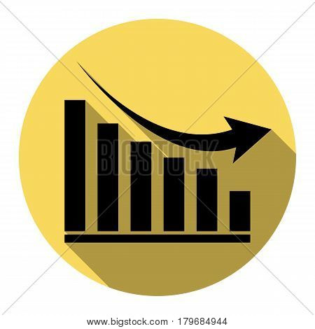 Declining graph sign. Vector. Flat black icon with flat shadow on royal yellow circle with white background. Isolated.