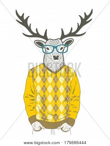 Doodle dressed up deer in hipster style. Vector hand drawn illustration.