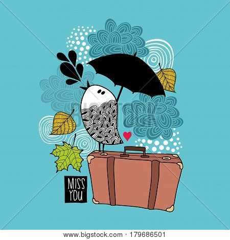 Sad bird on the old bag singing of love. Vector illustration.
