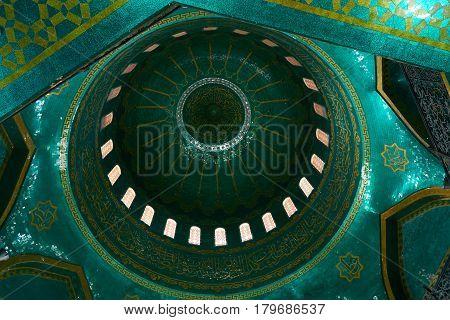 Azerbaijan Baku - 22 March 2017 Bibiheybat Mosque in Islamic republic Baku Azerbaijan. Interior design of the green Muslim Mosque.