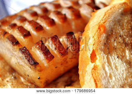 Bacon cut with bread colored photo fat food