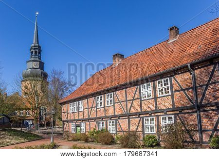 STADE, GERMANY - MARCH 27, 2017: Main building of the Johannis monastery in Stade, Germany