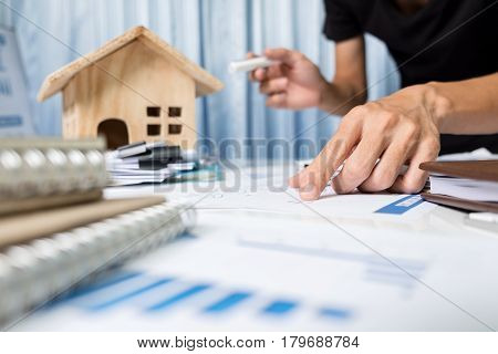 Manager Working In The Office ,property For Sale Concept.