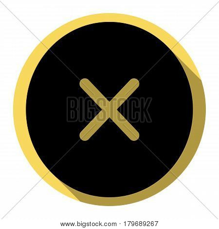 Cross sign illustration. Vector. Flat black icon with flat shadow on royal yellow circle with white background. Isolated.