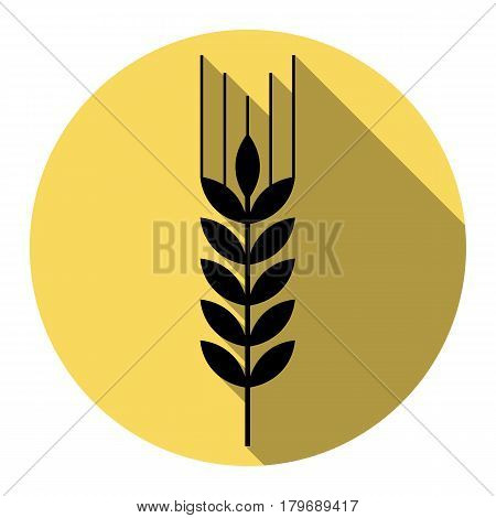 Wheat sign illustration. Spike. Spica. Vector. Flat black icon with flat shadow on royal yellow circle with white background. Isolated.