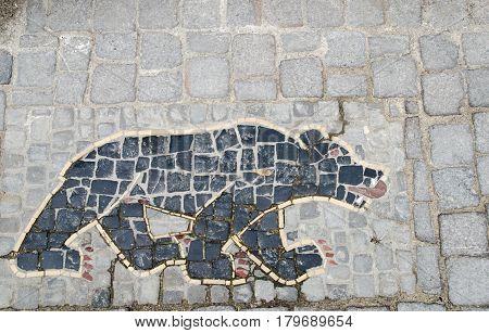Bear Mosaic Pavement At Stein Am Rhein, Schaffhausen. Switzerland