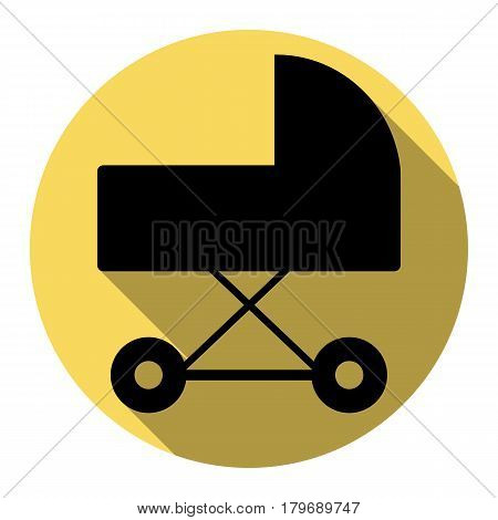 Pram sign illustration. Vector. Flat black icon with flat shadow on royal yellow circle with white background. Isolated.