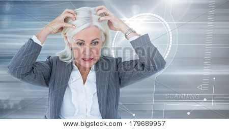 Digital composite of Stressed older woman with technology interface background