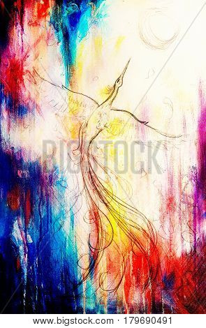 uprising phoenix bird flying up, drawing on abstract colorful background