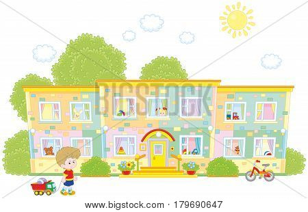 Vector illustration of a small boy going to his nursery school