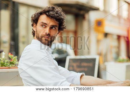 Handsome Elegant Man Sitting Outside Ar Terrace