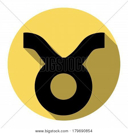 Taurus sign illustration. Vector. Flat black icon with flat shadow on royal yellow circle with white background. Isolated.