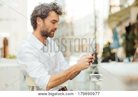 Handsome Elegant Man Sitting Outside Ar Terrace