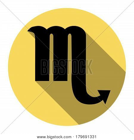 Scorpio sign illustration. Vector. Flat black icon with flat shadow on royal yellow circle with white background. Isolated.