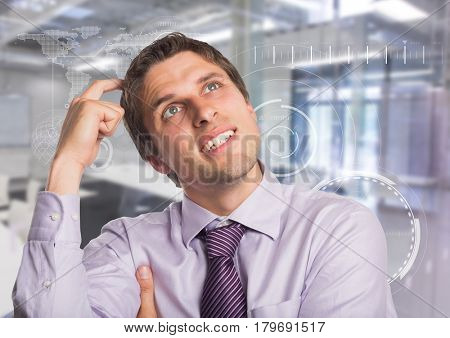 Digital composite of Man in lavendar shirt scratching head against white interface and blurry room