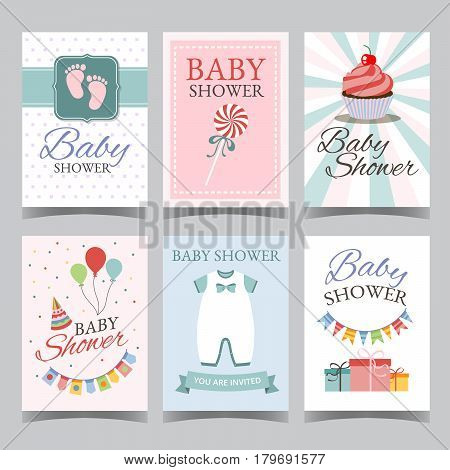 Baby shower card set for boy for girl Happy birthday party its a boy its a girl Newborn toddler celebration greeting or invitation card poster vector