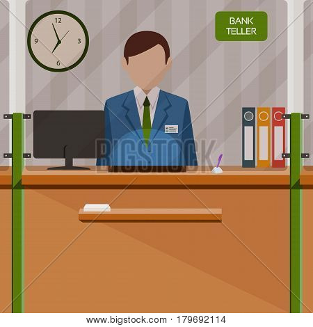 Bank teller behind window. Depositing money in bank account. People service and payment. Vector illustration in flat style