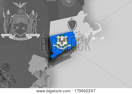 Connecticut Map And Flag